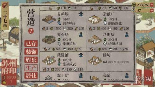 《江南百景图》刺绣怎么生产 刺绣生产条件介绍